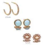 Hoop and Stud Earring Set - 3 Pack
