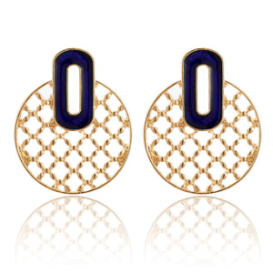 Blue Circular Stud Earrings