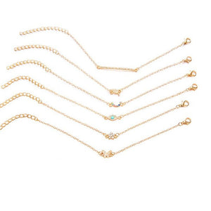 Charm Chain Bracelet Set - 6 Pack