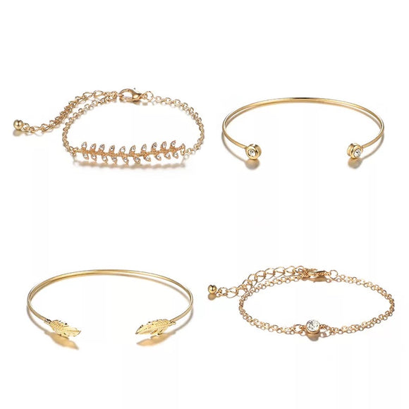 Gold Leaf Feather and Crystal Bracelet Set - 4 Pack