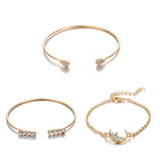 Crystal Stone Bracelet Set - 3 Pack