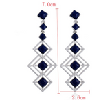 Navy Stone Drop Earrings