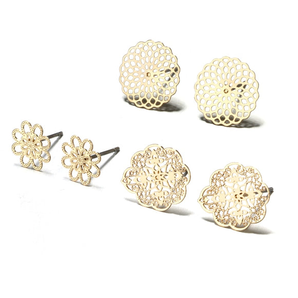 Gold Filigree Earring Stud Set - 3 Pack