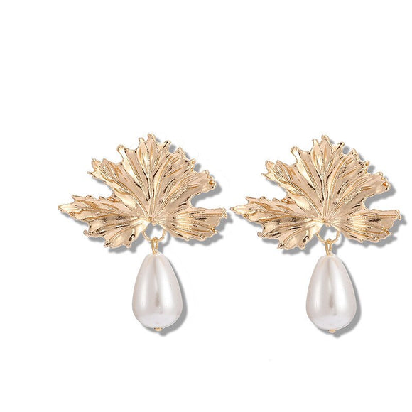 Leaf Pearl Drop Earrings