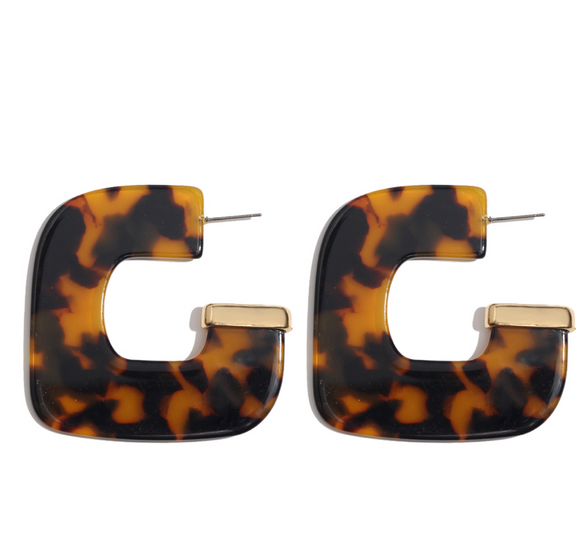 Vintage Acrylic Leopard Print Earrings