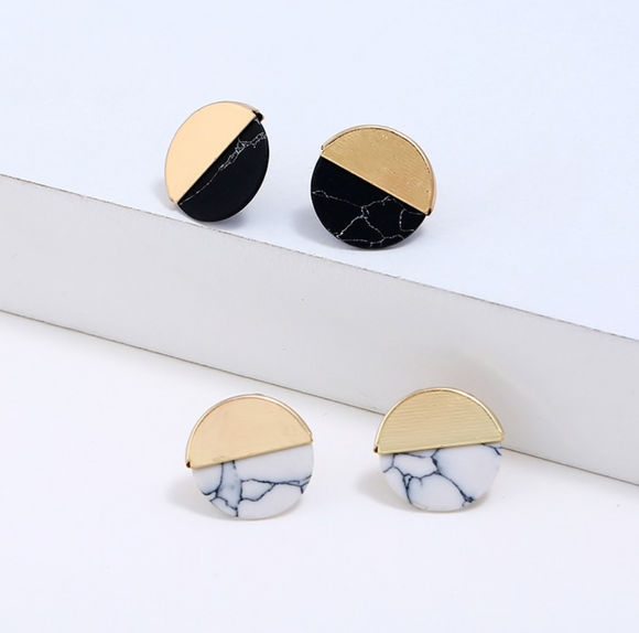 Metal Wrap Marble Stud Earrings