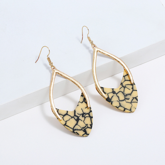 Gold Matte Print Earrings