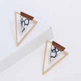 Wood and Marble Triangle Earrings