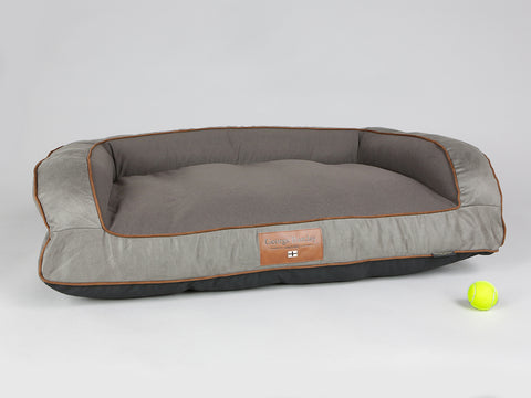 Beckley Sofa Bed - Taupe / Chestnut, Large - 120 x 75 x 27cm
