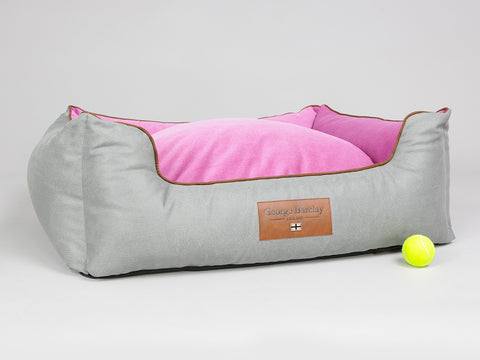 Selbourne Orthopaedic Walled Dog Bed - Fossil / Fuchsia, Large