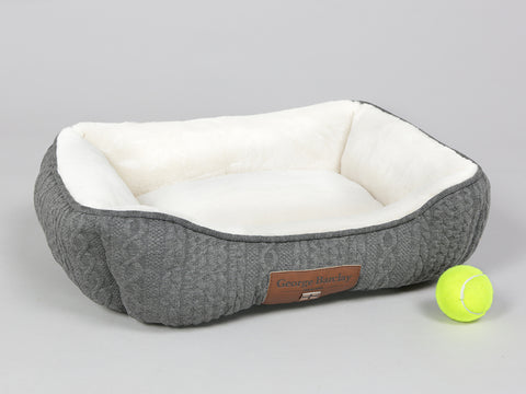 Aran Knit, Deluxe Pet Bed – Charcoal, Small - 55 x 45 x 18cm