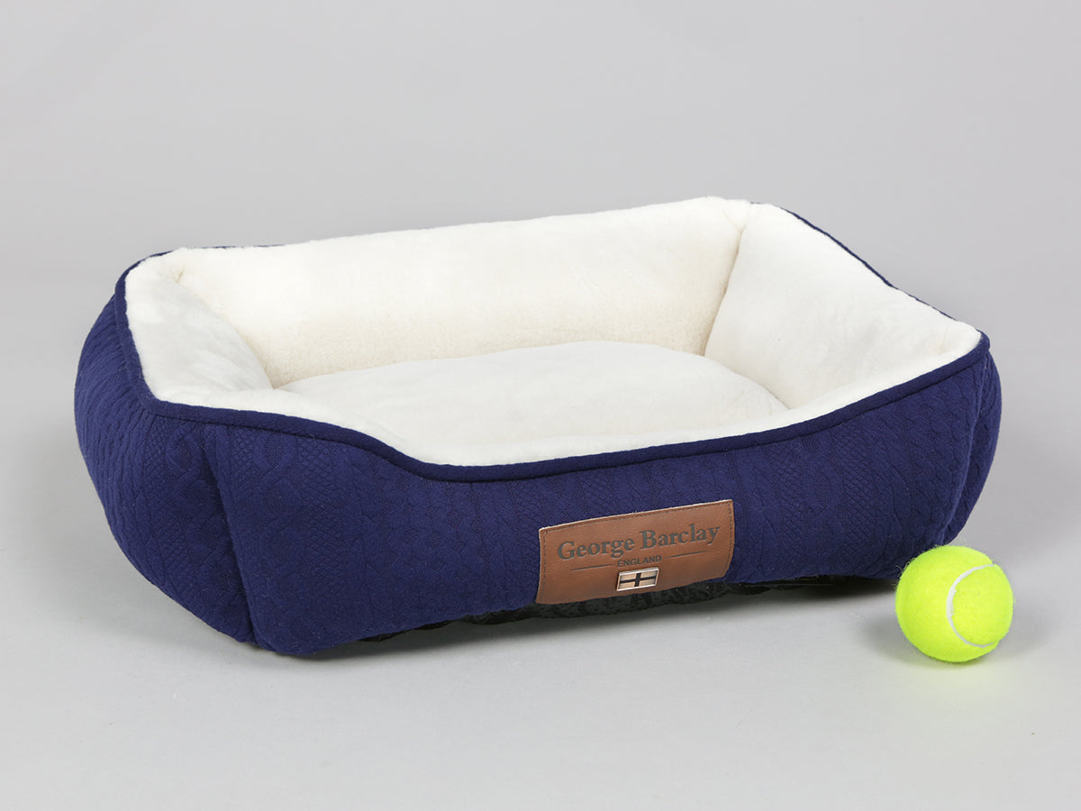 Aran Knit, Deluxe Pet Bed – Navy, Small