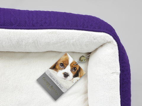 Aran Knit, Deluxe Pet Bed – Plum, Small - 55 x 45 x 18cm