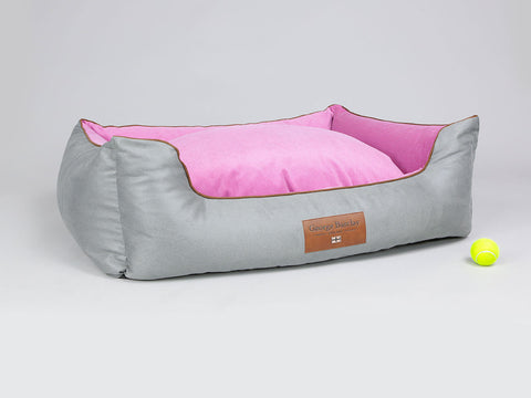 Selbourne Orthopaedic Box Bed - Fossil / Fuchsia, X-Large - 105 x 80 x 36cm