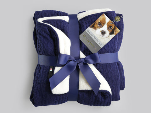 Aran Knit, Deluxe Pet Blanket - Navy