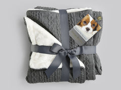 Aran Knit, Deluxe Pet Blanket - Charcoal