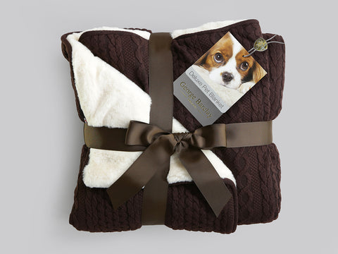 Aran Knit, Deluxe Pet Blanket - Chocolate
