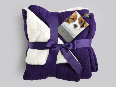 Aran Knit, Deluxe Pet Blanket - Plum