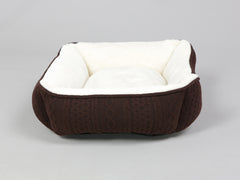 Aran Knit, Deluxe Pet Bed – Chocolate, Small - 55 x 45 x 18cm