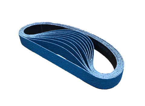 12mm x 610mm Zirconia File Sanding Belts - Pack of 10
