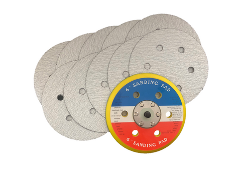 150mm 6 Hole Backing Pad + 10x 6 Hole Sanding Discs (Mixed Grit Packs)