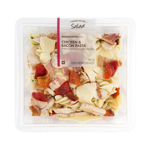 Woolworths Pasta Salad - Chicken & Bacon. Festival Food from FestEasy.