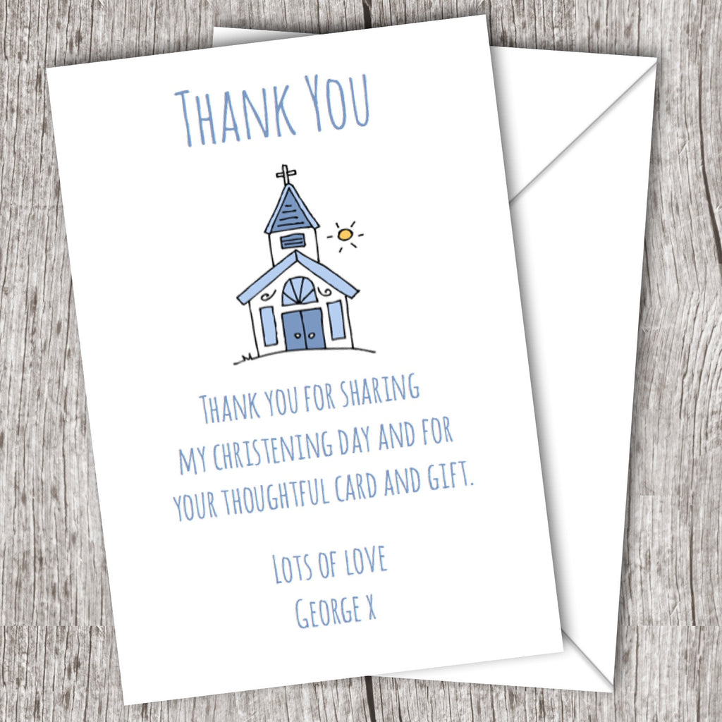 Christening Thank You Cards Blue Church 10 Pack Daydreaming Daisy