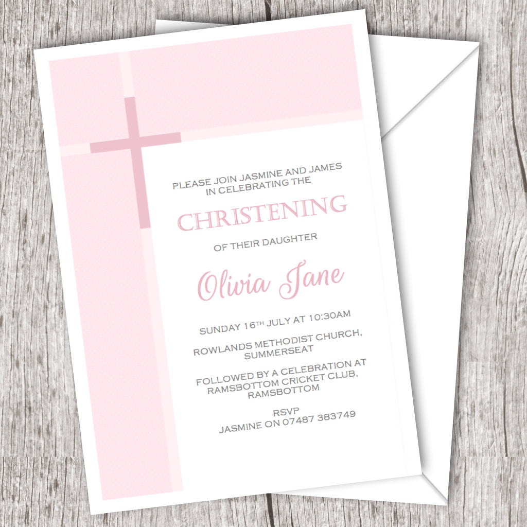 christening invitations cross banner 10 pack daydreaming daisy