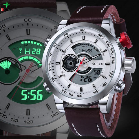 Montre Sport Homme étanche Digital LED + Analog Quartz