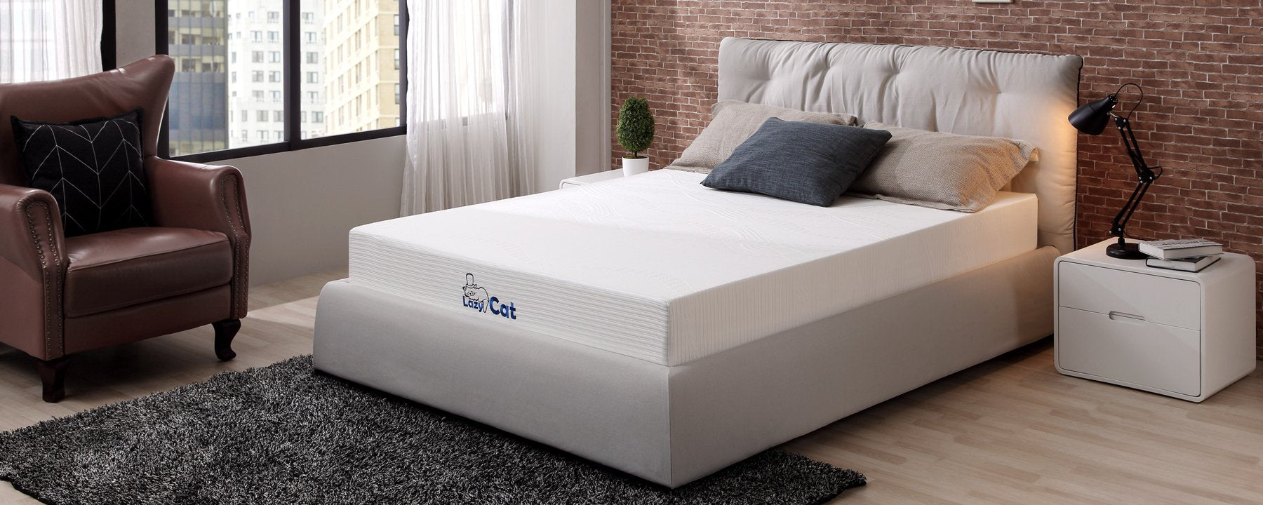 LazyCat 8 inch Memory Foam Mattress with Bonus Memory Foam Pillow