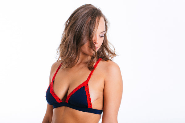 Bluebell - Royal Blue bikini with red embroidery.