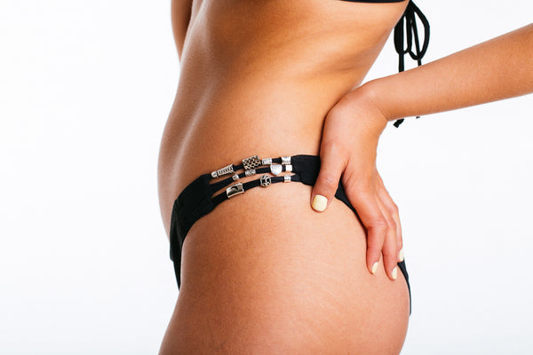 Diamant Noir - Luxury black bikini with silver beads