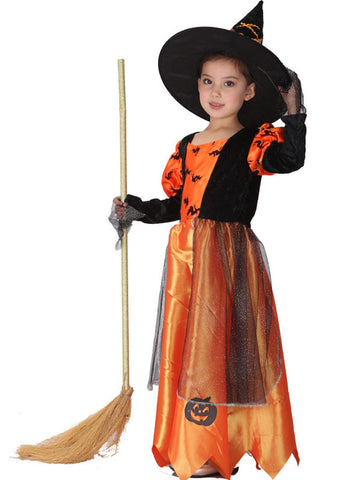 hotselling witch orange polyester girls halloween costume with hat