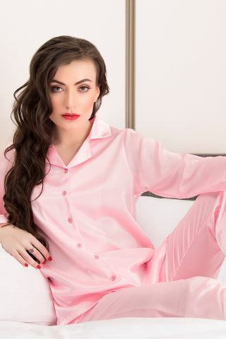 Satin Button Down Pink Night suit