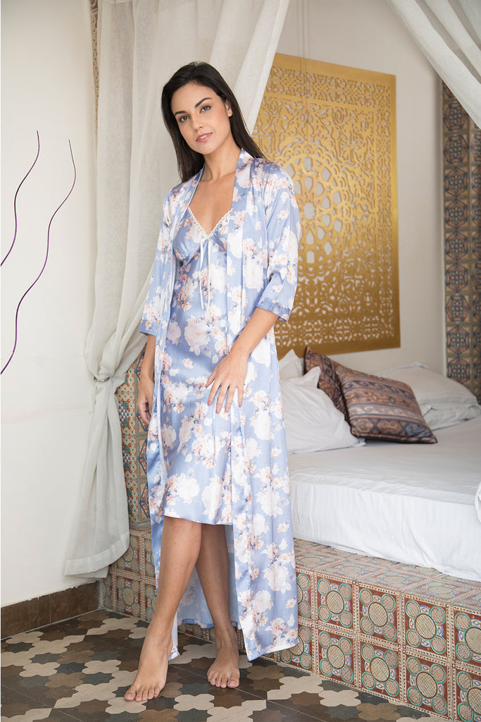 Long Satin Nightie & Robe Nightgown set