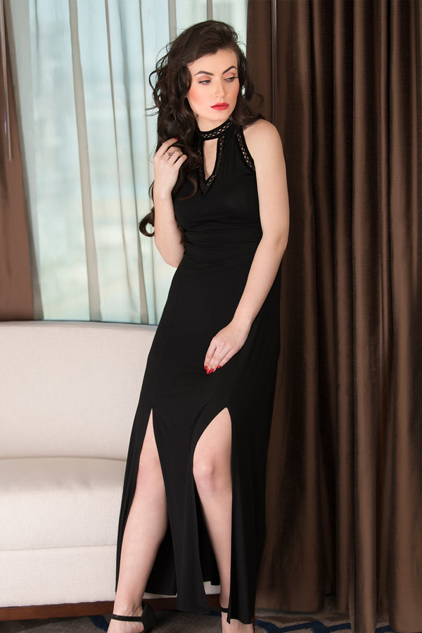 Black Halter neck Nighty
