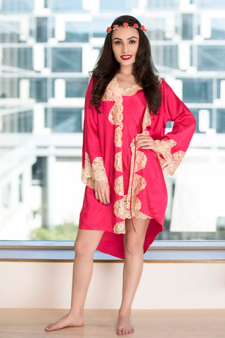 Hot pink Baby doll & Robe Nightgown set