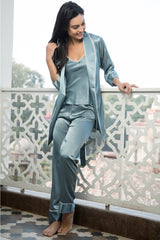 Teal Blue Satin Pj, Slip & Robe
