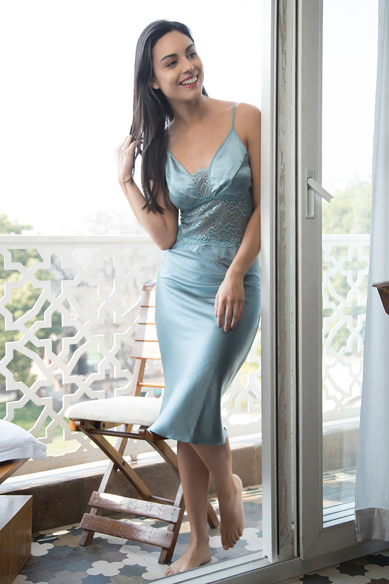 Light Teal Long Nighty & Robe - Private Lives