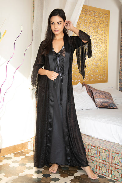 Black Designer Long Nighty & Robe - Private Lives