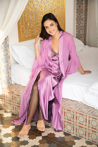 Mauve Designer Long Nighty & Robe - Private Lives