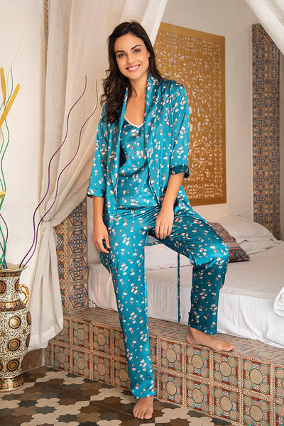 Teal Nightwear 4Pcs Set - Private Lives
