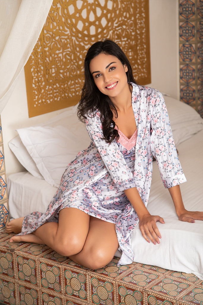 Grey Nightwear 4Pcs Set - Private Lives