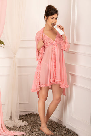 Private Lives Peach Net Short 2Pcs Set - Private Lives