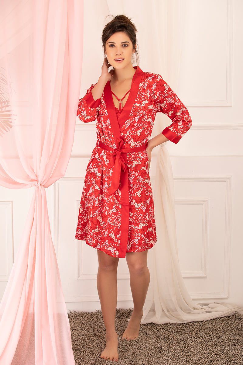 Private Lives Red Satin Short 2Pcs Set - Private Lives
