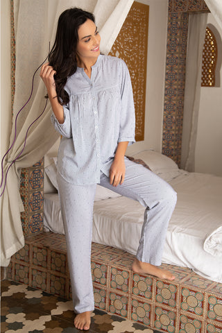 Blue Button down cotton Night suit - Private Lives