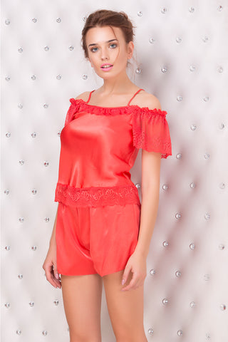 Seductive off shoulder flirty cami & shorts night-suit