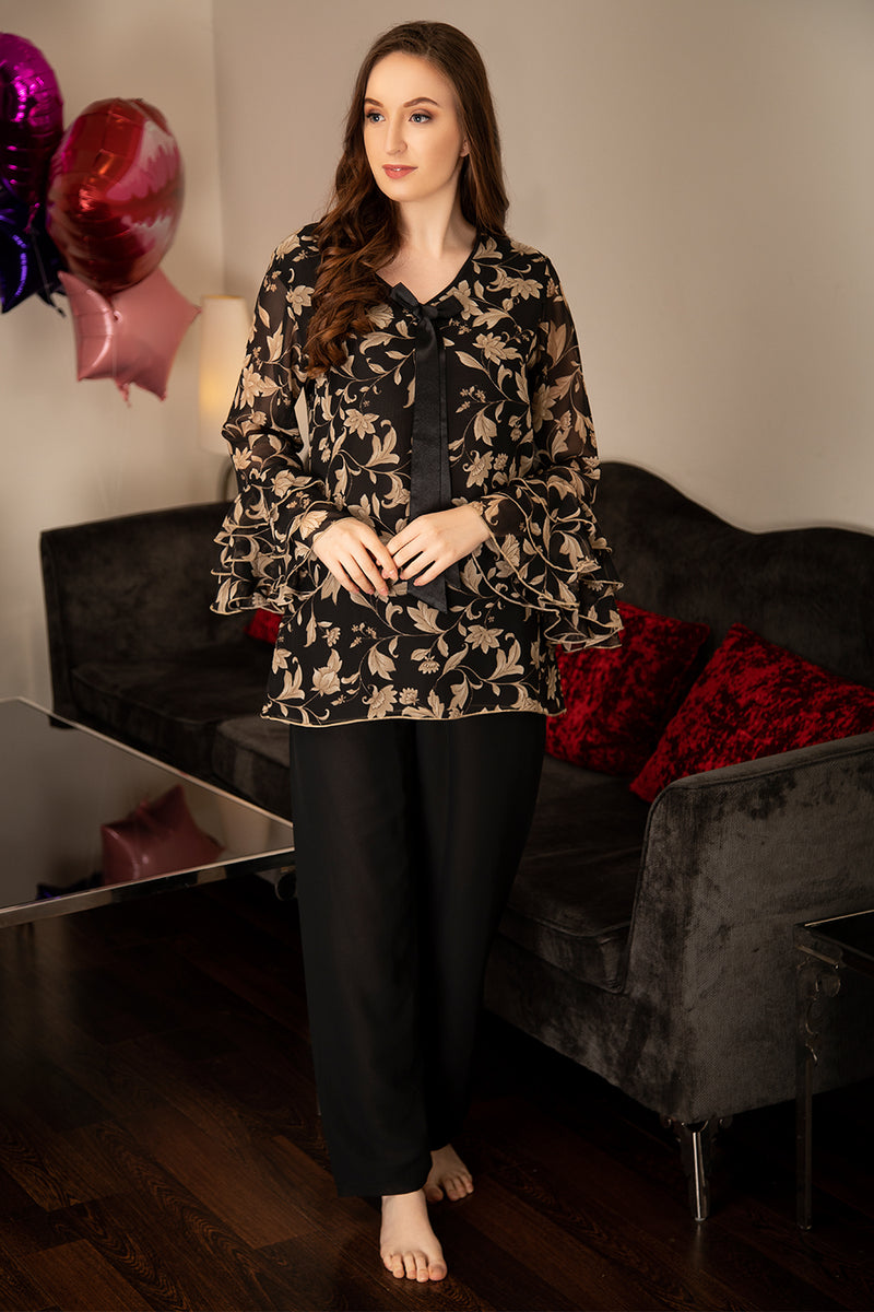 Victorian print layered chiffon ruffle sleeve Night suit