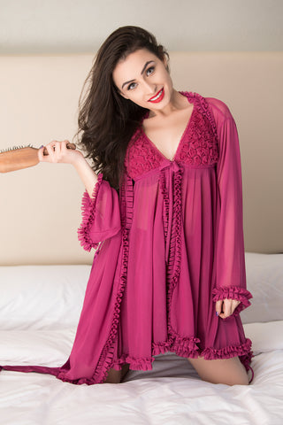 Illusion nude tulle night gown set
