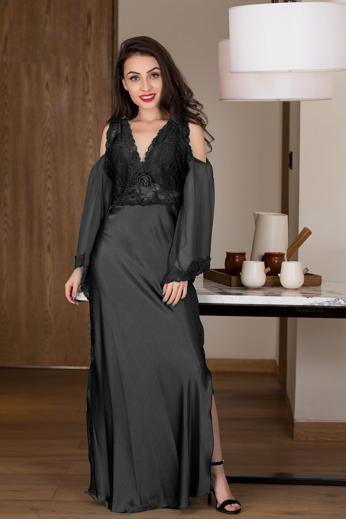 Dressed-to-impress designer black long nighty